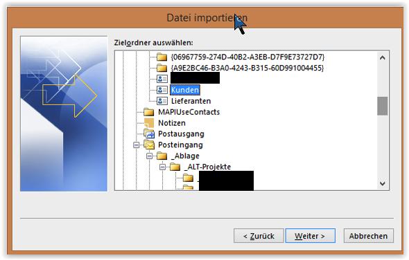 kontakte importieren windows 10